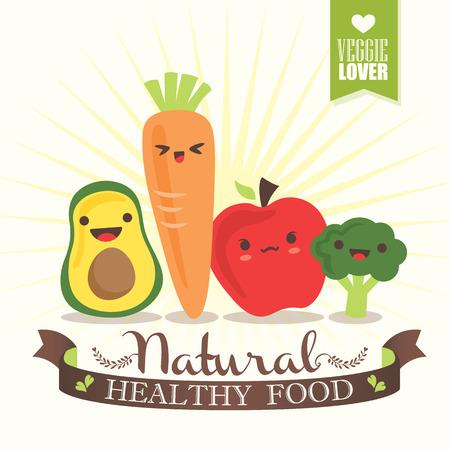 Kawaii Vegetable cartoon characters vector illustration Illustration
