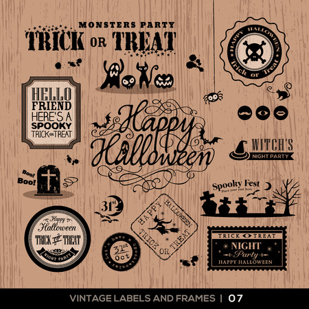 Set of Halloween Labels and frames with retro vintage styled design Vector