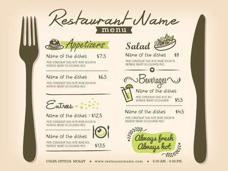 speisekarte: Restaurant Tischset Menu Design Template-Layout