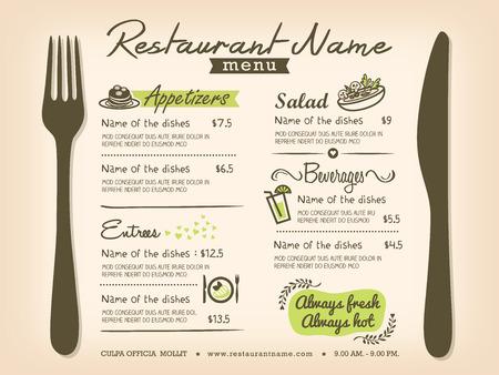 speisekarte: Restaurant Tischset Menu Design Template-Layout