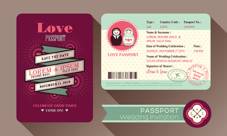 passport: Retro Visa Passport Wedding Invitation card design Illustration