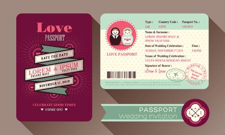 Retro Visa Passport Wedding Invitation card design Illustration