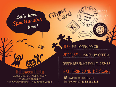 Halloween Party Postcard background Vector