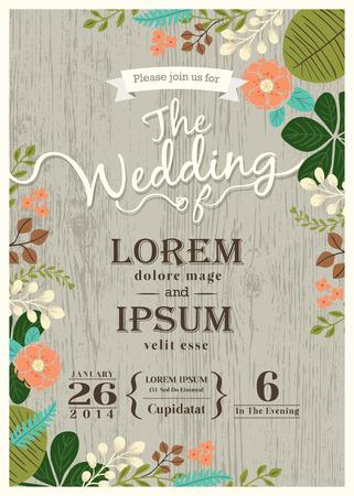 Weinlese-Hochzeitseinladungskarte mit niedlichen gedeihen Hintergrund