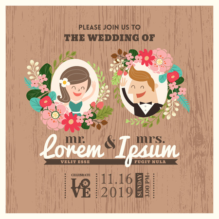 cartoon wedding couple: wedding invitation card with cute groom and bride cartoon