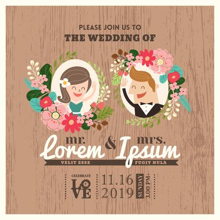 husband: wedding invitation card with cute groom and bride cartoon