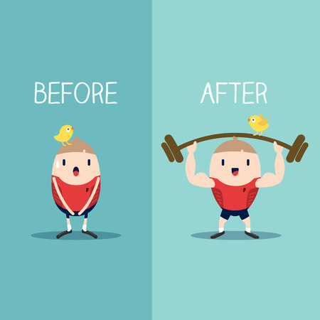 Bodybuilder with barbell before and after concept vector illustration