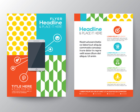 Trendy Graphic Design Layout with smart phone concept vector template for flyer brochure leaflet poster
