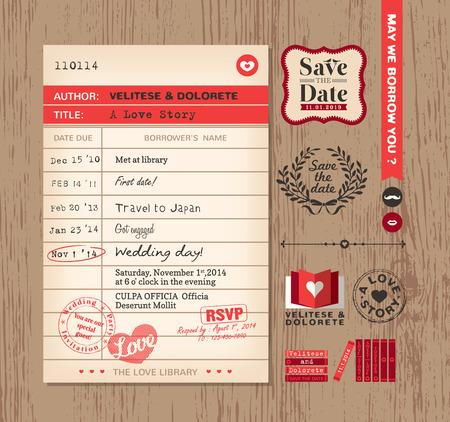 greeting card invitation: Library card creative Wedding Invitation design background Illustration