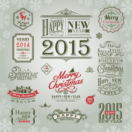 set of christmas and new year design elements vector Vector