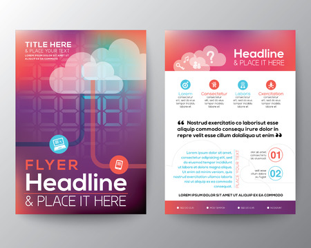 cloud cover: Abstract Brochure Flyer design Layout vector template in A4 size