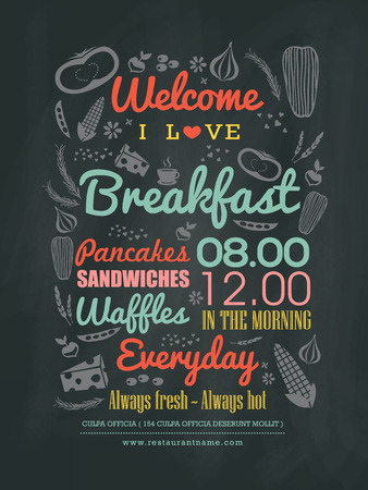 cafe: Breakfast cafe Menu Design typography on chalk board vector illustration Illustration