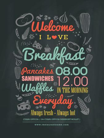 pizarra: Men� de desayuno caf� Dise�o de la tipograf�a en tiza ilustraci�n vector de la tarjeta
