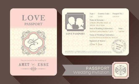 ビンテージ Visa パスポートの結婚式の招待カードのデザイン テンプレート