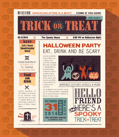 vintage newspaper: Happy Halloween Party card vector design layout in newspaper style