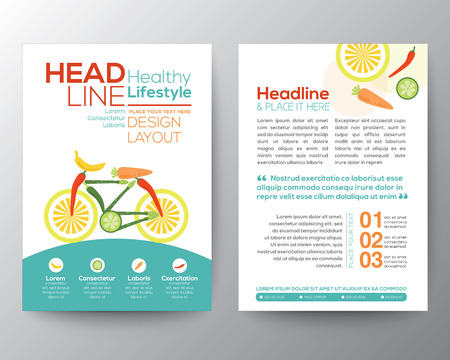 Brochure Flyer design vector template Layout with bicycle illustration made from vegetables healthy lifestyle concept Ilustração