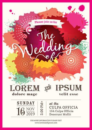 kleur splash bruiloft uitnodiging kaart achtergrond
