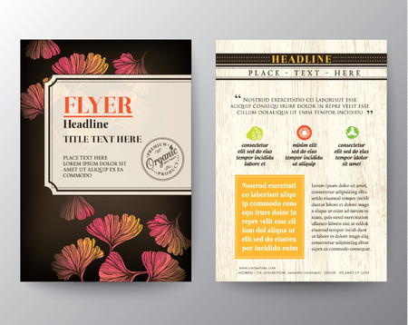health spa: Brochure Flyer graphic design Layout vector template in A4 size with Ginkgo leaf background
