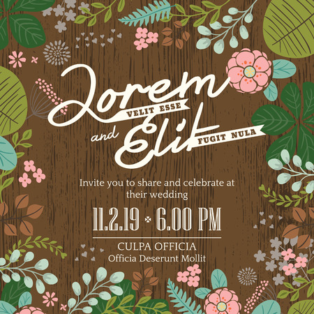 bride and groom background: wedding invitation card with cute and colorful foliage vector background