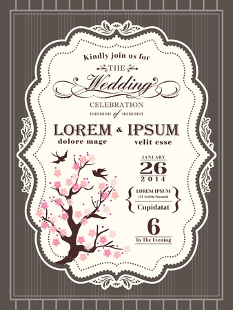 Vintage cherry blossom Wedding invitation card border and frame background Vector