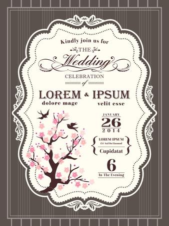 bordi decorativi: Vintage fiore di ciliegio confine carta dell'invito di cerimonia nuziale e cornice di sfondo Vettoriali