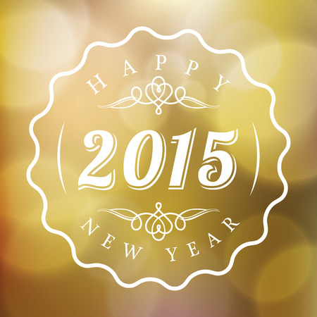 blurred lights: Happy New Year 2015 vector sign on Abstract blurred lights gold background