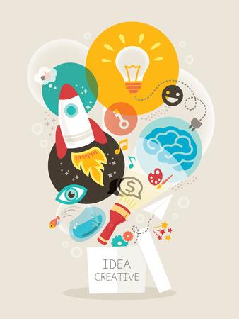 tvůrčí: Kreativní nápad myslet po vybalení z krabice vektorové ilustrace Ilustrace
