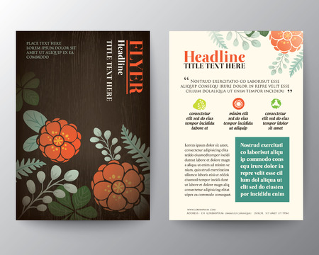 health spa: Brochure Flyer graphic design Layout vector template in A4 size with floral background