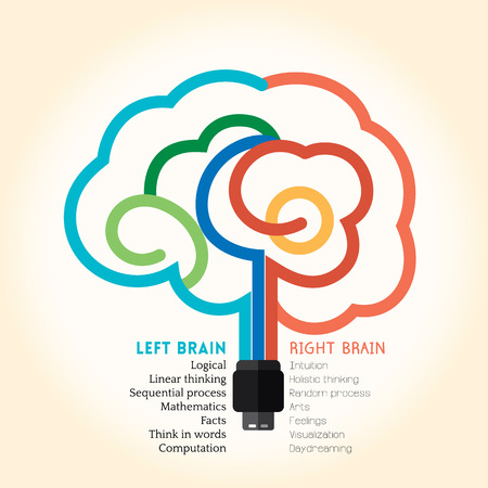 Left right brain function creative concept vector illustration Ilustrace