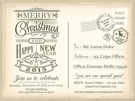 Vintage Christmas and Happy New year holiday postcard background vector for party invitation card Vector