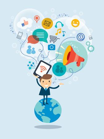Social-Media-Konzept Vektor-Illustration mit Geschäftsmann Cartoon-Figur, die auf einem Globus mit Wolke von Symbolen