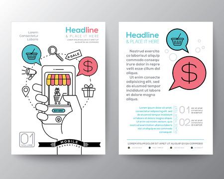 온라인 쇼핑 스마트 폰 마케팅 개념 A4 크기의 책자 전단 디자인 레이아웃 템플릿