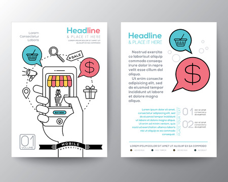 Folleto Flyer plantilla de diseño diseño de tamaño A4 con compras en línea de teléfono inteligente concepto de marketing