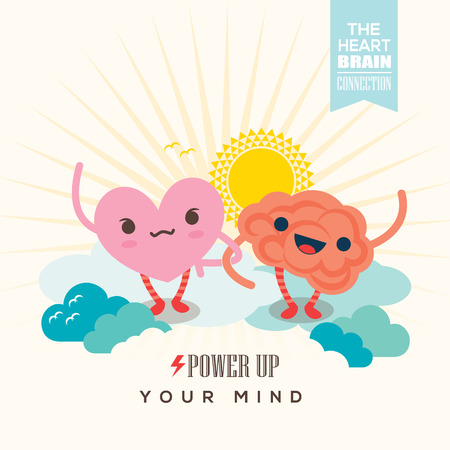Power up your mind conceptual illustration with heart and brain cartoon character holding hands together