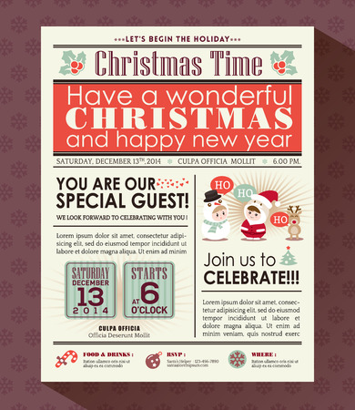 and invites: Christmas party poster invite background in newspaper style