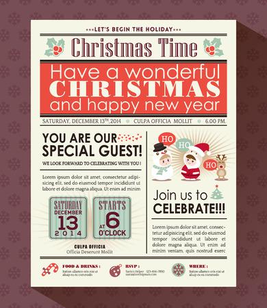 Kerstfeest poster nodigen achtergrond in de krant stijl Stock Illustratie
