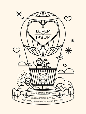 Modern wedding invitation groom and bride in hot air balloon with lineart geometric style illustration Illustration