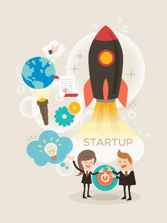 start up: Start up business concept idea rocket launch illustration