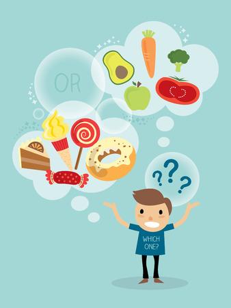 between: vector cartoon character of a man choosing between healthy and fast food