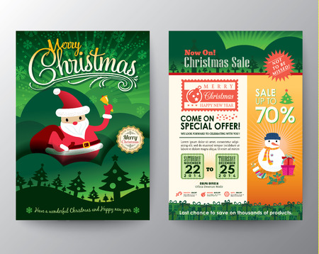 christmas flyer background: Christmas sale Brochure Flyer design Layout vector template in A4 size