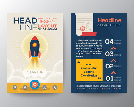 new start: Brochure Flyer design Layout vector template in A4 size with start up business concept rocket launch illustration