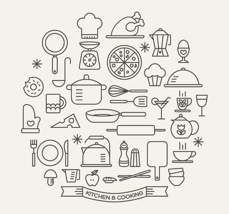 kitchen utensils: Cooking Foods and Kitchen outline icons set