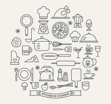 cooking: Los alimentos de cocina e iconos de contorno de cocina se establecen