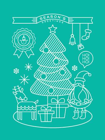 xmas tree: Modern christmas tree santa claus cartoon illustration with line art style