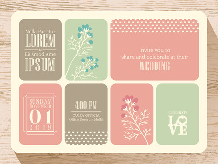 wedding reception decoration: Cute pastel wedding invitation card background
