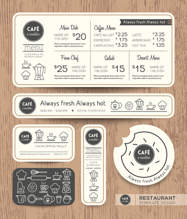 Restaurant Cafe Set Menu Graphic Design Template layout Vector