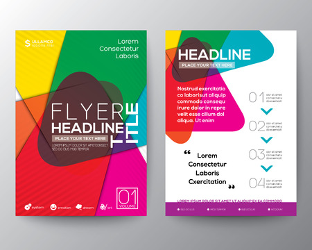 color pages: Abstract colorful Brochure Flyer design Layout vector template in A4 size Illustration