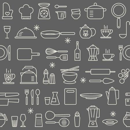 キッチンの調理器具アイコンのシームレスな背景パターンを設定  イラスト・ベクター素材