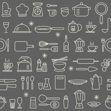 outlines: Seamless background pattern of Cooking Kitchen utensil icons set