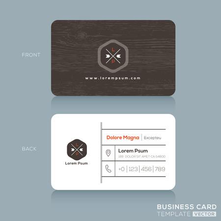 業務: 現代名片設計模板與深色木質背景 向量圖像